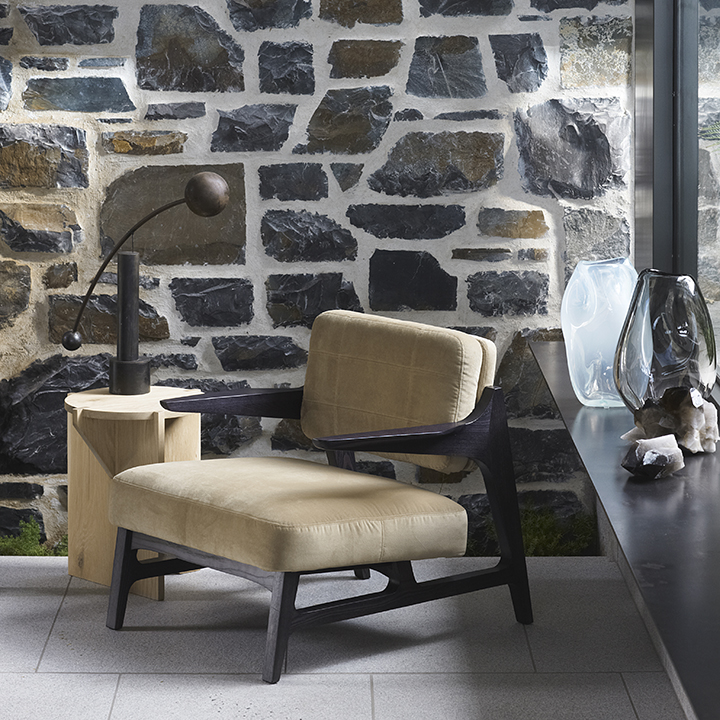 Miles armchairs timber leather